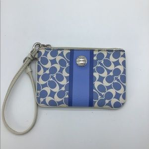 COACH signature logo blue&white leather wristlet
